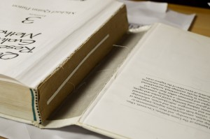 A frequent problem Rina faces is the covers of books detaching from their spines. Her repair-work is long lasting and far cheaper than sending the book away to a binder for repair.